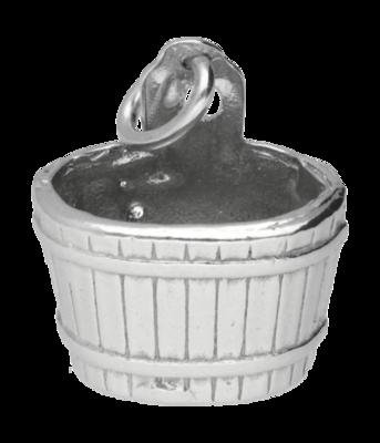 Zilveren Houten emmer - waterput - sauna kettinghanger