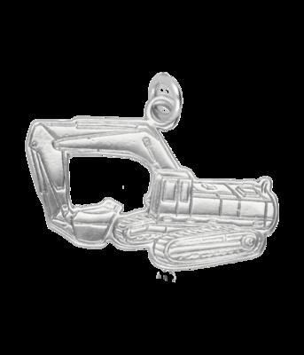 Zilveren Graafmachine op rupsbanden kettinghanger