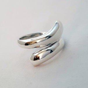 Zilveren ring Modern Druppels