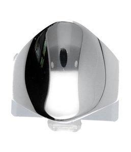 Zilveren ring met gepolijst ovaal gebogen voorzijde