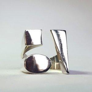 Zilveren ring Strak Modern met Geometrische vormen