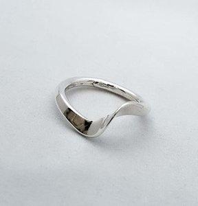 Zilveren smalle ring Modern met wave