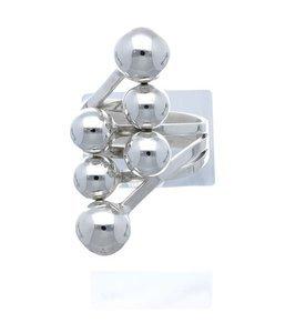Zilveren ring met 6 bolletjes