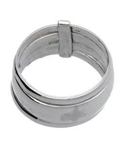 Zilveren ring met 1 brede en 2 smalle ringen los