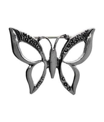 Zilveren Vlinder opengewerkt broche kledingspeld
