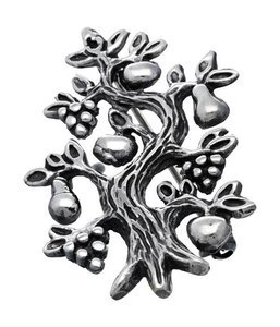 Zilveren Levensboom broche kledingspeld