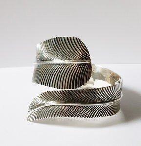 Zilveren Veer open 19-22 cm armband