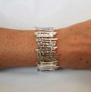 Zilveren Staafjes recht gehamerd 19,0/20,0/20,5 cm armband