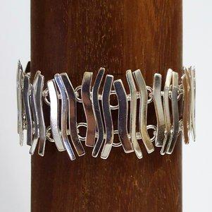 Zilveren Staafjes gebogen gehamerd 19,0/19,5 cm armband