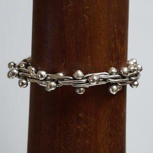 Zilveren dubbele bolletjes 21 cm massief armband