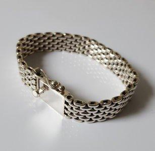 Zilveren Malinese schakel; met dubbele veilige klipsluiting 19 cm armband