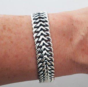 Zilveren dubbele gourmet gespiegeld massief 19,0 / 20,0 / 21,0 cm armband