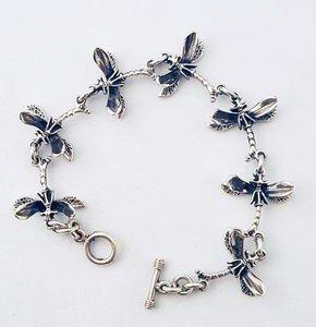 Zilveren zeven libellen scharnierend 20 cm armband