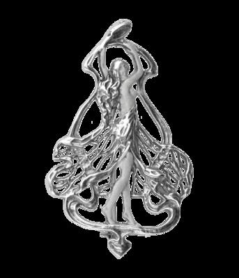 Zilveren Vrouw in opengewerkte jurk Art Nouveau Jugendstil XL hanger en broche