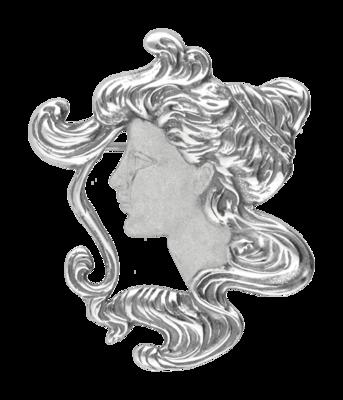 Zilveren Vrouwengezicht Art Nouveau Jugendstil XL hanger en broche