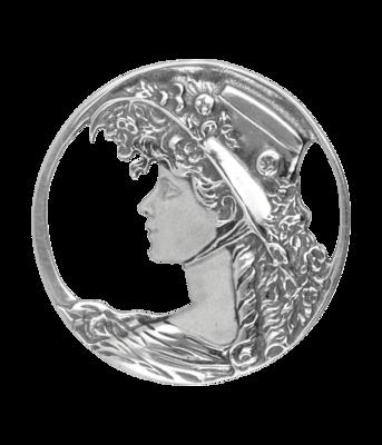 Zilveren Vrouwengezicht met hoed Art Nouveau Jugendstil XL hanger en broche