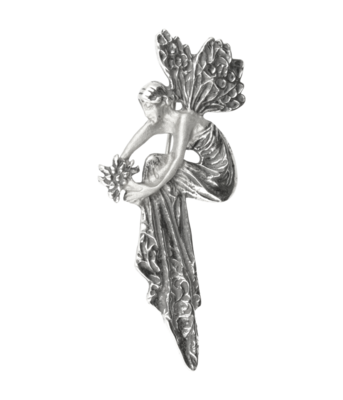 Zilveren Vrouw met vleugels Art Nouveau Jugendstil XL hanger en broche