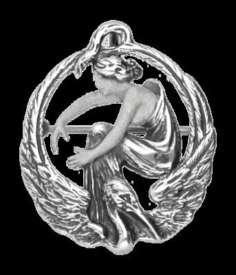 Zilveren Vrouw met overgang Kraanvogel Art Nouveau Jugendstil XL hanger en broche