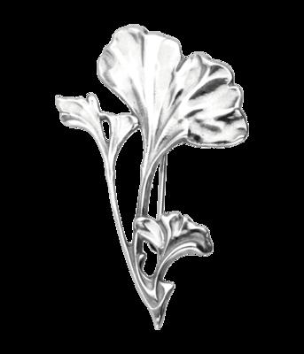 Zilveren Ginkgo blad aan tak Art Nouveau Jugendstil XL hanger en broche
