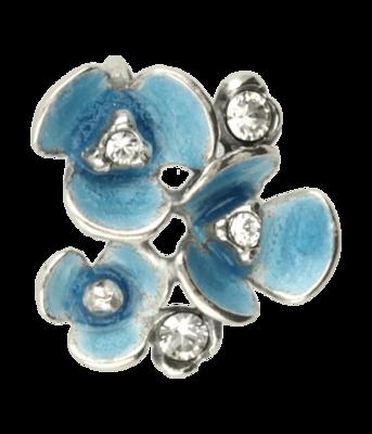 Zilveren Bloemen met swarovski kristallen en blauw emaille Art Nouveau Jugendstil hanger
