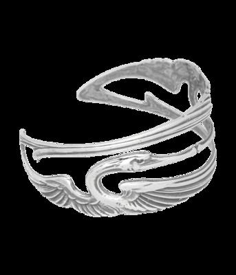 Zilveren Kraanvogels gespiegeld Art Nouveau Jugendstil Klemarmband 17-19 cm