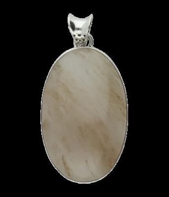 Zilveren Chalcedoon edelsteen ovaal XL hanger