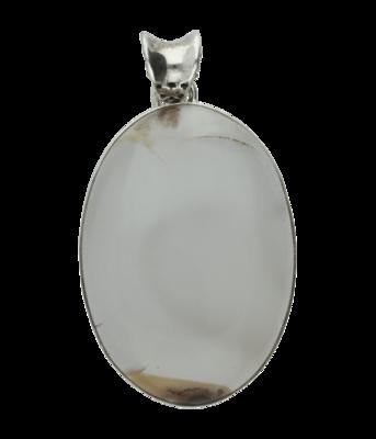 Zilveren blauwe Chalcedoon edelsteen ovaal XL hanger