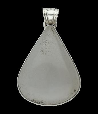 Zilveren blauwe Chalcedoon edelsteen druppel XL hanger