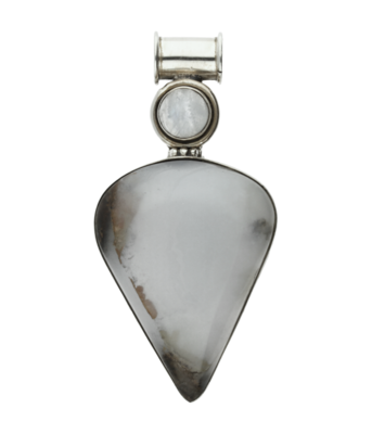 Zilveren blauwe Chalcedoon edelsteen punt XL hanger