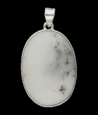 Zilveren Dendriet Opaal edelsteen ovaal XL hanger
