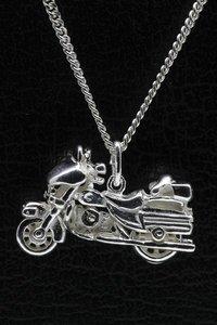 Zilveren Harley Davidson ketting hanger - wielen draaibaar
