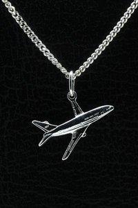 Zilveren Vliegtuig Boeing 737 ketting hanger