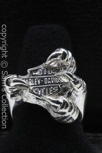 Zilveren Harley met klauw ring