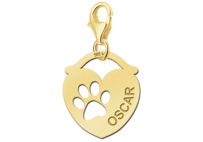 Gouden Graveerplaatje hart met hondenpoot : Jente