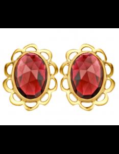 Gouden oorknoppen oorstekers klassiek granaat