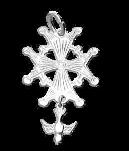 Zilveren Hugenotenkruis groot kettinghanger