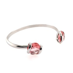 Klemarmband met 2 x rosé swarovski kristallen 19 cm