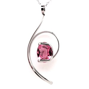 Ketting design met donker rosé swarovski kristal 45 cm