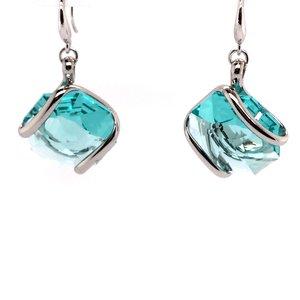 Oorhangers design middel met zeegroen swarovski kristal