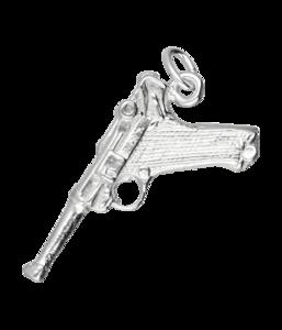 Zilveren Luger pistool kettinghanger
