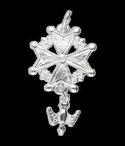 Zilveren Hugenotenkruis ketting hanger - groot