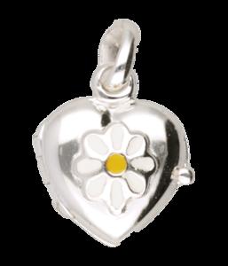 Zilveren Foto medaillon hart met bloem hanger - klein